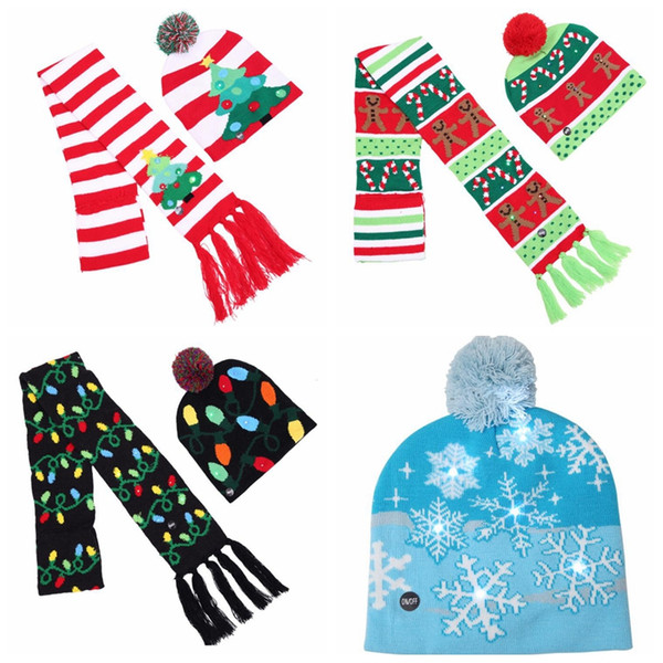 4 Styles Natale LED Hat sciarpa a maglia Set LED Lights Pom Beanie Sciarpe Set Xmas Snowflake Crochet Hats Regalo di Natale CCA10670 12 set