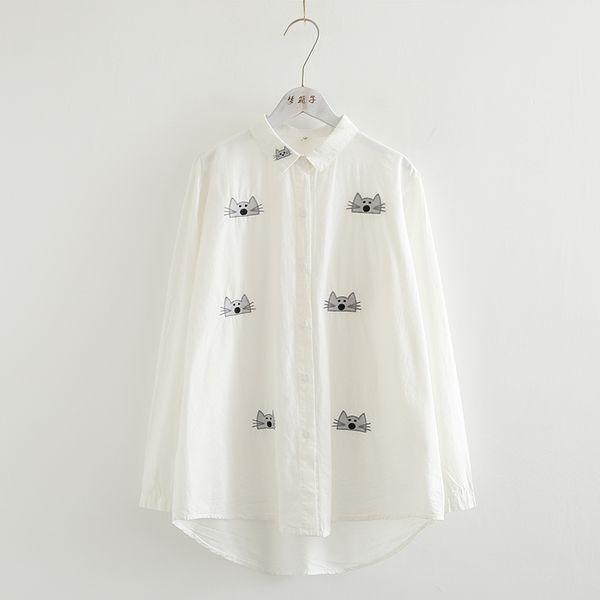 KYQIAO blusas mujer de moda 2018 mori girls autumn spring Japan style kawaii cartoon mouse embroidery white blouse shirt