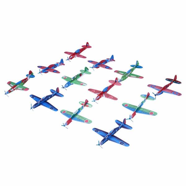 글라이더 비행기를 던지는 12Pcs DIY 손 던지기 거품 비행기 모형 당구대 충전물 아이를위한 비행 글라이더 비행기 장난감 아이 게임