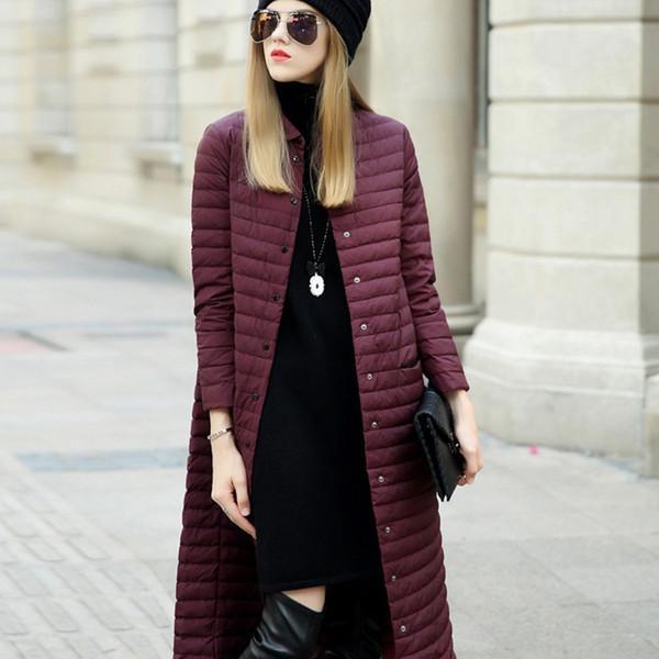 Fashion women designer winter coats high-end light and thin long over the knee white duck down jacket women manteau femme winter coat