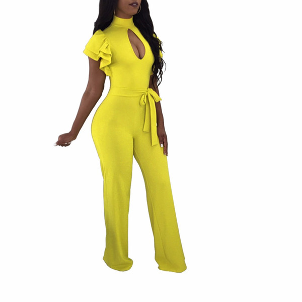1fc9edce444 2018 new Sexy Ruffle sleeve Jumpsuit Office Work Wide Leg Party Jumpsuit  High Waist Plus Size 3XL Long Straight Jumpsuits