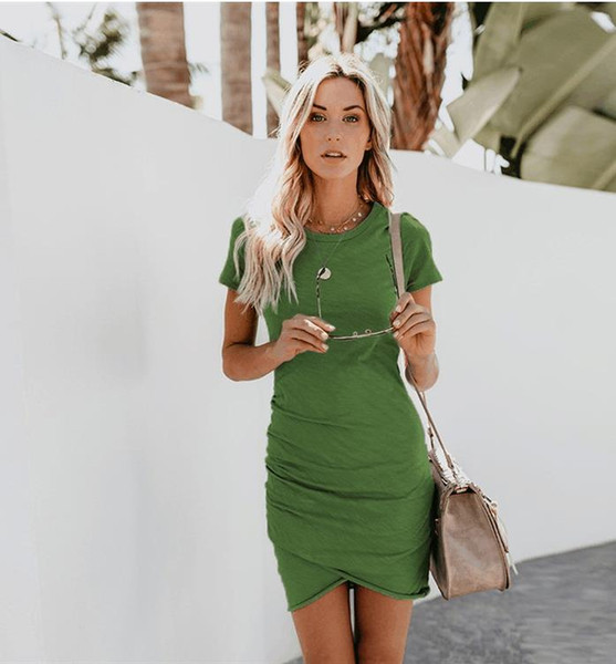 S-2XL Work Summer Style Women Bodycon Dresses Sexy 2018 New Arrival Casual Green Crew Neck short Sleeve Midi Dress bandage bodycon vestidos