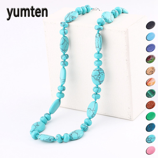 Yumten Crystal Necklace Women Stone Jewelry Men Female Choker Male Natural Power Gem Reiki Water Drops Statement Accessories