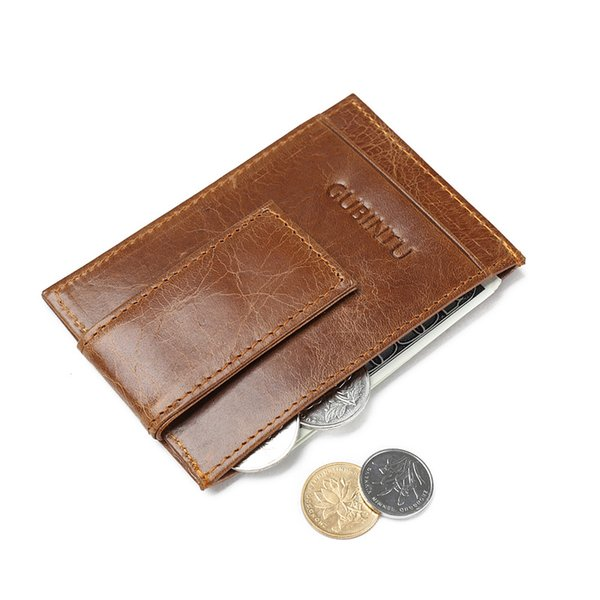 Men money clips vintage genuine leather front pocket clamp for money holder magnet magic clip wallet with card ID Case