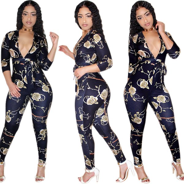 Women Deep V-Neck Sexy Jumpsuit 2018 Fashion Long Sleeve Party Overall for Women Autumn Skinny Long Rompers Jumpsuits