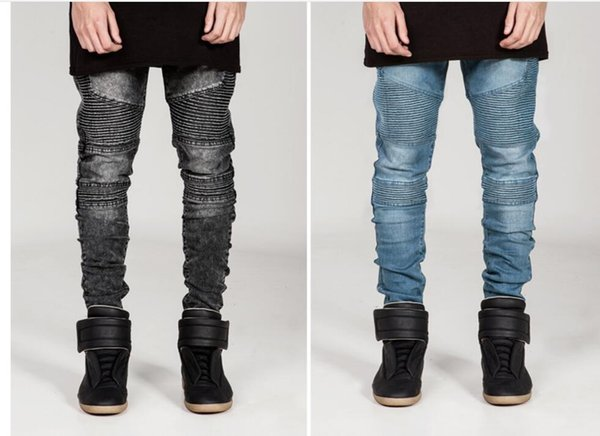 New Style Men Distressed Ripped Jeans Fashion Designer Straight Motorcycle Biker Jeans Causal Denim Pants Streetwear Style mens Jeans Cool