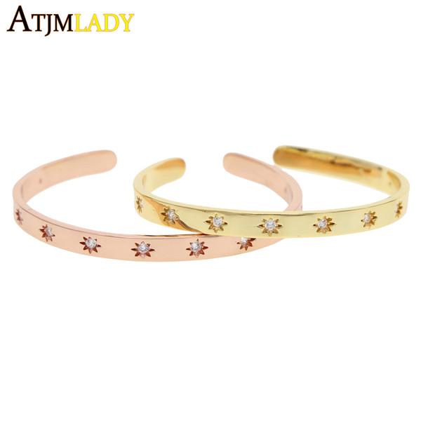 2018 Nuovo colore oro stella cz regolare braccialetto Delicata donna gioielli semplice moda donna regalo bracciale aperto braccialetto braccialetto moda
