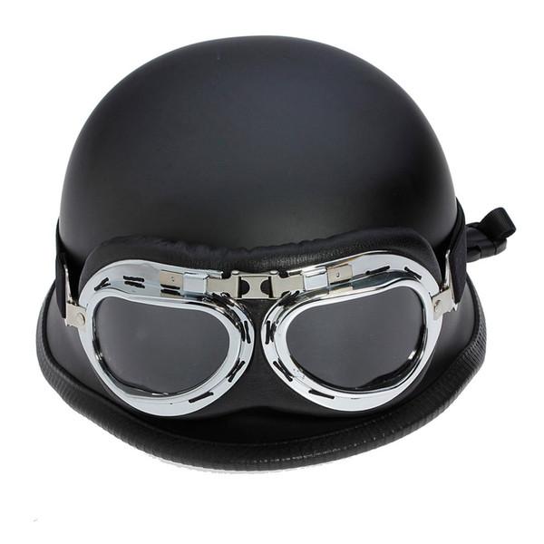 Autoleader Black Flat Motorcycle Bike Half Helmet With Sunglasses Low Profile Shield ABS Flat Matte Black Motorcycle Helmet