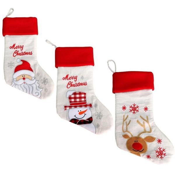 20 pollici di tela di lino ricamo Natale calza sacchetti regalo di tela Natale Natale calza Plain tela decorativo calzini borsa SN873