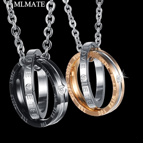 His & Hers Matching Titanium Stainless Steel Couples Paired Crystal Pendant Necklace Set Lovers Valentine's Gift for Men Women