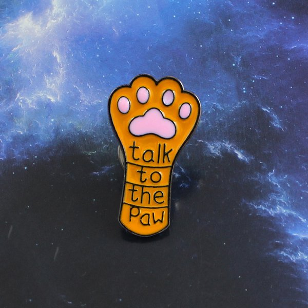 Long Cute Cat Claw Dog Claw Brooch Talk to the Paw Orange Pet Paw Print Enamel Lapel Pin Jeans Leather Badge Kid and Friend Gift
