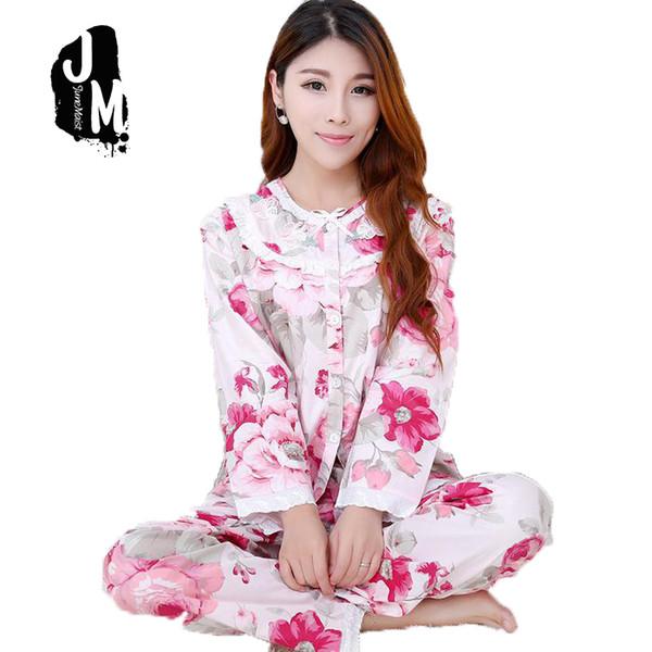 ad1a7b36fa Woman 100% Cotton Pajama Long Sleeve Ladies Pajamas Set Cotton Pyjamas  Felmale Pijama Floral Print Sleepwear Homewear Nightgown