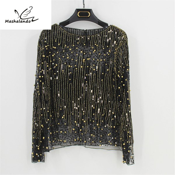 2018 Runway Sexy Sequined Bead Sheer Mesh Lace Long Sleeve Shirt Vintage Diamonds Embroidery Embellished Blouse Top Women Tunic