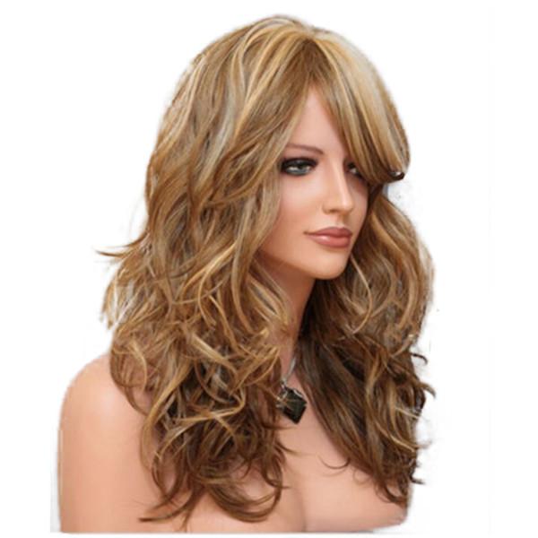 Perucas de cabelo longo encaracolado mulheres ondulado 60 CM moda loira Médio marrom preto e vermelho europeu e americano estilo