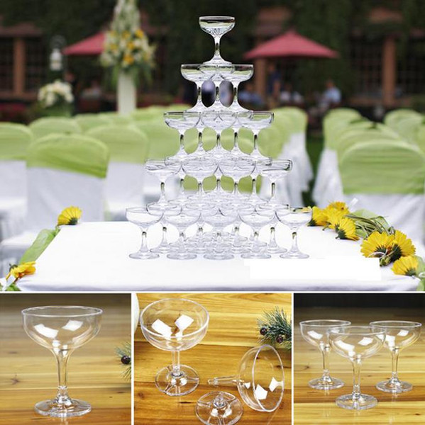 108PCS New arrival triangle cup tower wedding props /wedding decoration /acrylic plastic champagne cup champagne goblet tower FREE SHIPPING