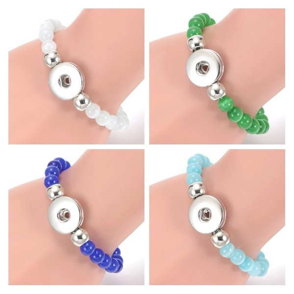 6 colors 18mm Snap Button 8MM Natural Stone Beads Elastic Bracelet Cat's Eye Opal Stone Beaded Hand Strings Jewelry