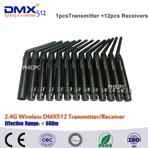 DHL Free Shipping 13pcs DMX512 Console Portable Wireless Dmx512 Transmitter And Receiver Dmx Wireless For Led Stage Lights
