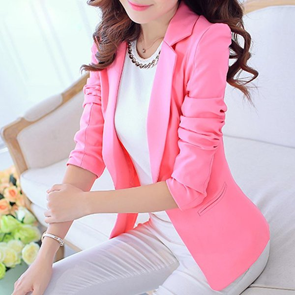Wholesale- Outerwear Basic Jackets Female 2017 Spring Autumn Women Long Sleeve Slim Coat Tops Casual Candy Color Cardigan Jacket Suit Shirt