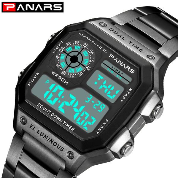 PANARS Fitness Sport Watch Men Reloj de pulsera digital para hombres Reloj de cronógrafo Dual Time 12/24 horas Relojes de acero inoxidable 8113