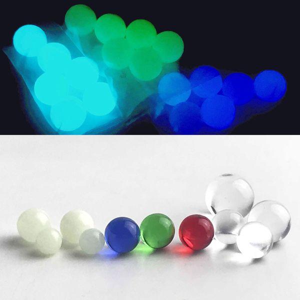 New Luminous Glowing 6mm 8mm Quarz Terp Perle Kugeleinsatz mit rotem, blauem, grünem Glas Terp Top Perlen für Quarz Banger Nagel