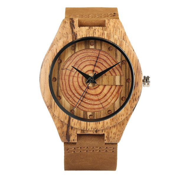 Zebra Madeira Relógios para Homens Moda Círculo Rodada Movimento Quartz Japonês Casual Couro Genuíno Relógio De Pulso Masculino Reloj de madera