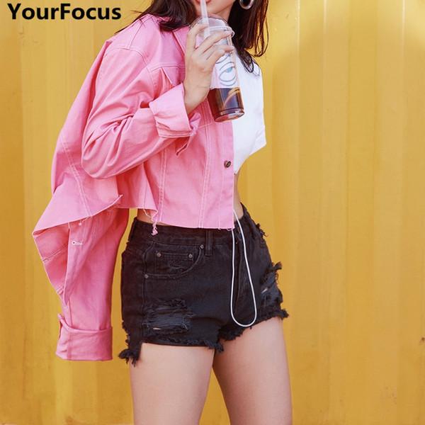 Harajuku vintage ins hot pink kawai cute solid short long sleeve crop denim jackets coat YQ-757