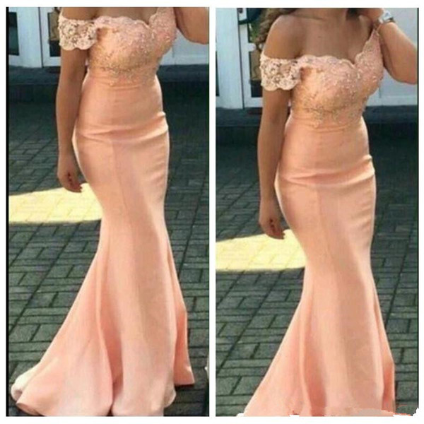 2018 Off The Shoulder Satin Mermaid Long Bridesmaid Dresses Applique Beaded Sweep Train Wedding Guest Party Maid of Honor Dresses