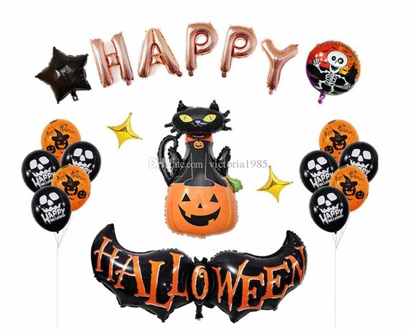 Party supply balloons Happy Halloween Balloons decor Set Dancing Skeletons Foil Balloons Witch Pumpkin balloon decoration