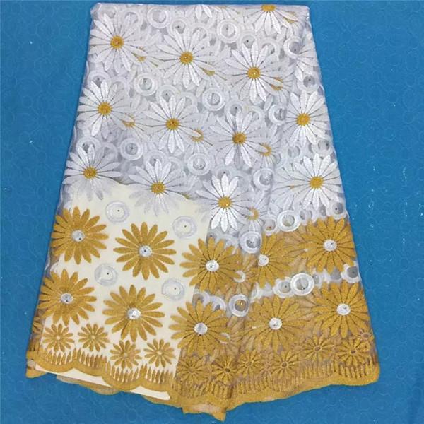 Tecido de Renda africano Moda Feminina Bonita Branco de Alta Qualidade Net Lace Bordado Laço De Tule Francês Para O Casamento