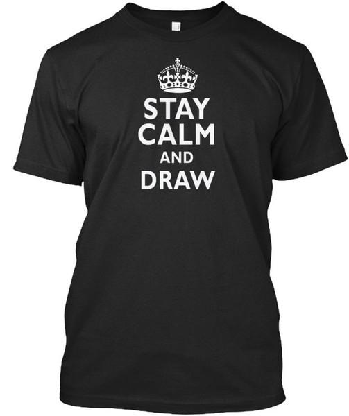 Mantén la calma y dibuja la camiseta Élégant T Shirt Hombres camiseta de manga corta personalizada del verano de San Valentín Equipo de gran tamaño Camisetas