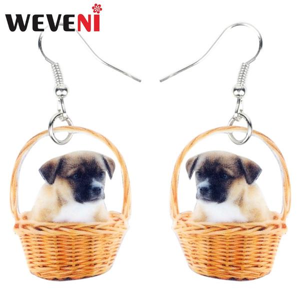 WEVENI Statement Acrylic Basket Of Cute Puppy Dog Earrings Dangle Drop Fashion Novelty Jewelry For Women Girls Teens Gift Charms