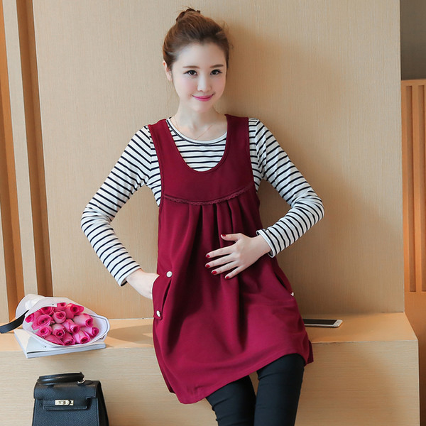 2d9c7d1676605 Pengpious 2018 winter new maternity dress fashion sundress+stripe Tees two-piece  outfit pregnant