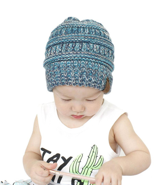 New Winter CC Mixed Blocked Blends Skullies Beanies Children Hat Winter Baby Hat For Kids Boys Girls Warm Knitted Baby Caps 2018