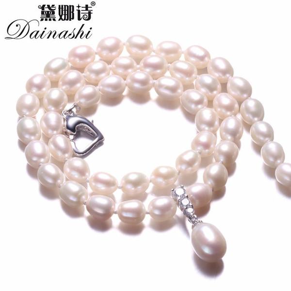 Erstaunliche PrBeautiful Perlenschmuck Halskette, hochwertige natürliche Süßwasser Perlen Schmuck, weiß / Pink / Purple