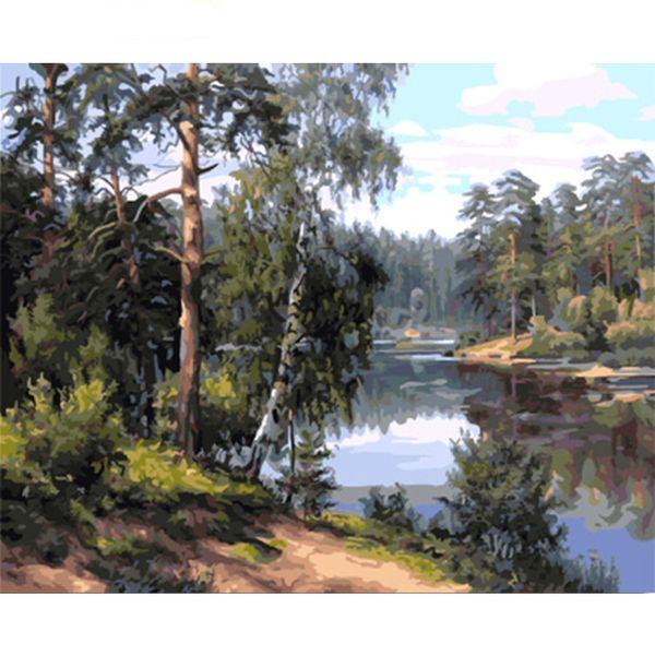 Compre Bosque Sin Marco Pintura De Bricolaje Por Número Kit Pintura ...