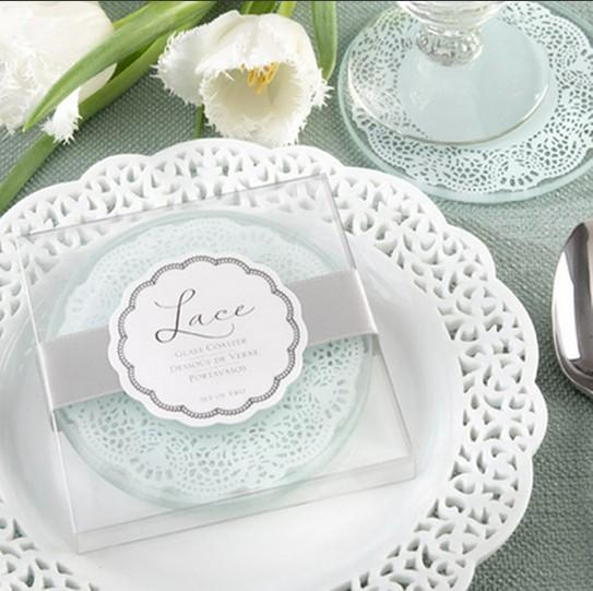 wholesale 100pcs/lot(=50sets) Free Shipping Wedding favors gifts Lace Exquisite Frosted Glass Coasters For Party