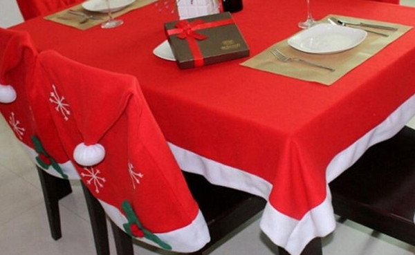 Christmas table cloth chair suite Christmas decoration hotel table party decorated table cloth snowflake chair hat for holidays
