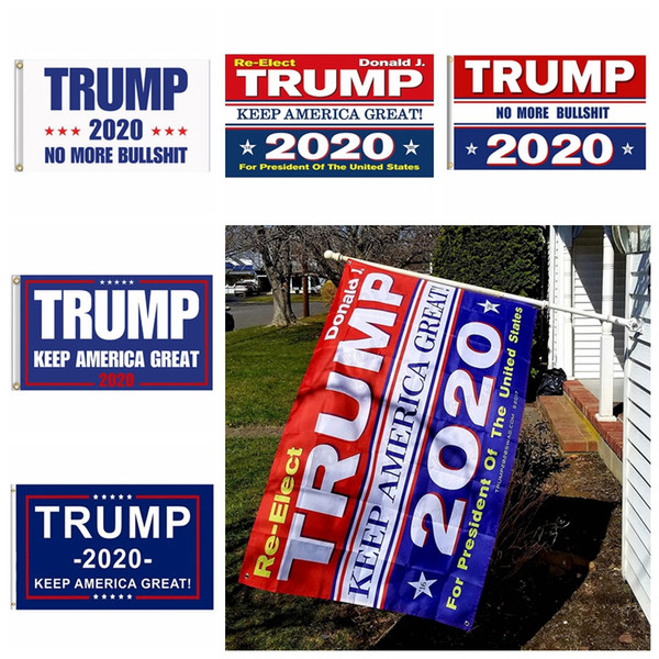 top popular Trump 2020 Flag Print Keep America Great Banner Decor for President USA American Election No More Bullshirt Donald Flag 90x150cm MMA726 200p 2019