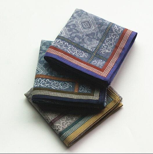 Freeshipping Wholesale 6 Pcs 43 *43cm Cotton Handkerchief Men Pocket Square Hankies Mens Business Casual Square Pockets Hanky