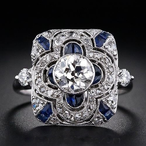 Fashion Geometric Square Blue Zircon Flower Rings for Women Luxury Engagement Wedding Rings Bride Banquet Jewelry Gifts anillos