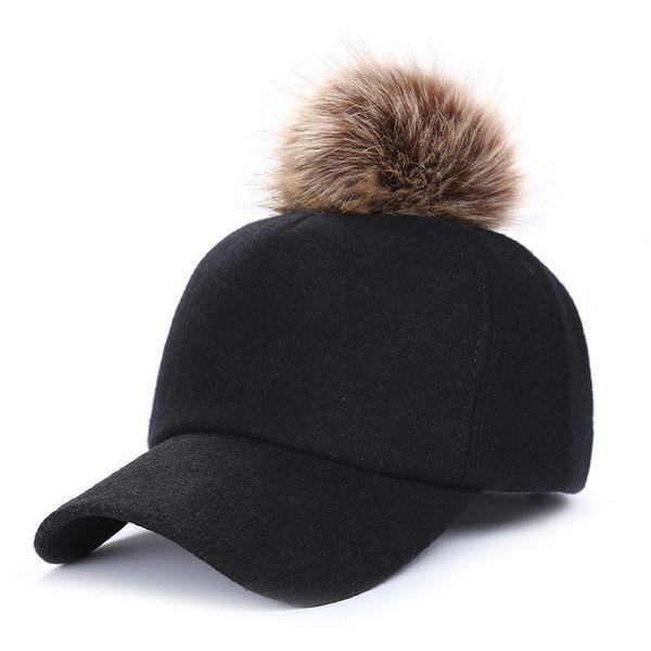 Hip Hop Felt Baseball Cap Women Thick Warm Bone Snapback Hat Female Autumn Winter Fashion Polyester Fur Pom Pom Hats