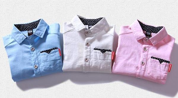 Spring Shool Boy Shirt Smart Ribbon Decoration Turn-down Collar 3 Colors Choice Blue Pink Mix Size