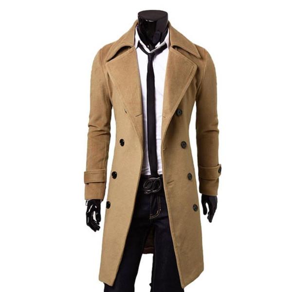 Peacoat Spring/Fall Fashion Men's Woolen Outerwear Winter Pea Overcoat Peacoats Double Breasted Trench Coats Woolen Coat DM#6