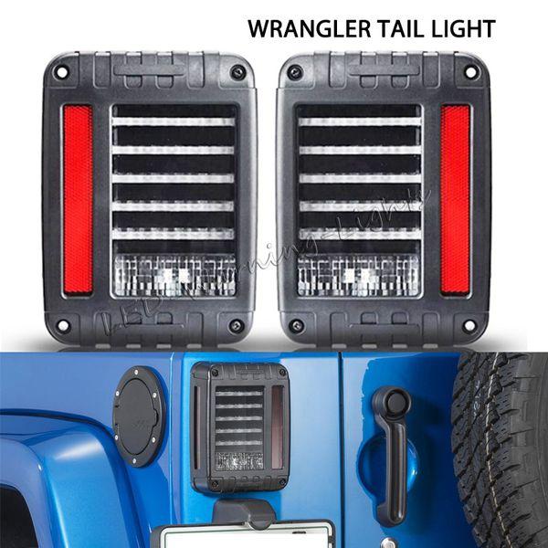paire feux arrière LED de signal de tour de frein de marche arrière avec des bouchons standards UE / États-Unis pour Jeep Wrangler JK 07-16 remplacement éclairage de la voiture feux arrière