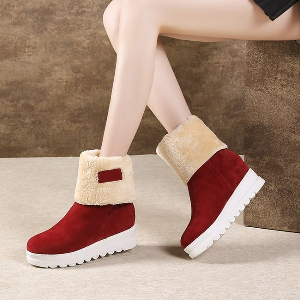 2 wearing warm female snow boots height increasing platform round toes winter women half boots 34-43 AFL&C200