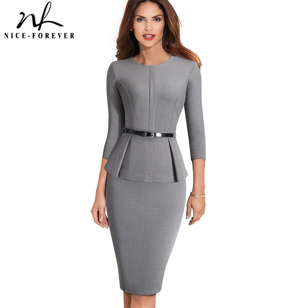 Nice-forever Vintage Elegant Wear to Work with Belt Peplum vestidos Business Party Bodycon Office Career Women Dress B473