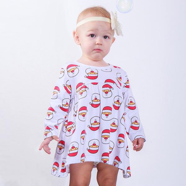 Vestido de Natal do bebê Dos Desenhos Animados Chapéu De Papai Noel Impressão Bebê Recém-nascido Menina Roupas de Grife Pontos de Manga Longa Breve Barco Pescoço Plissado Folho Saia