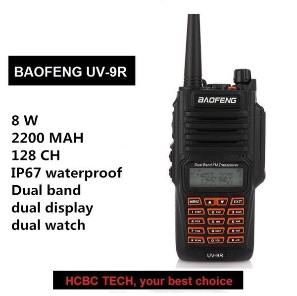 Baofeng UV-9R Walkie Talkie 8W Radio 10KM UHF VHF IP67 Transmisor-receptor a prueba de agua Radio Ham portátil Comunicador portátil GT-3TP