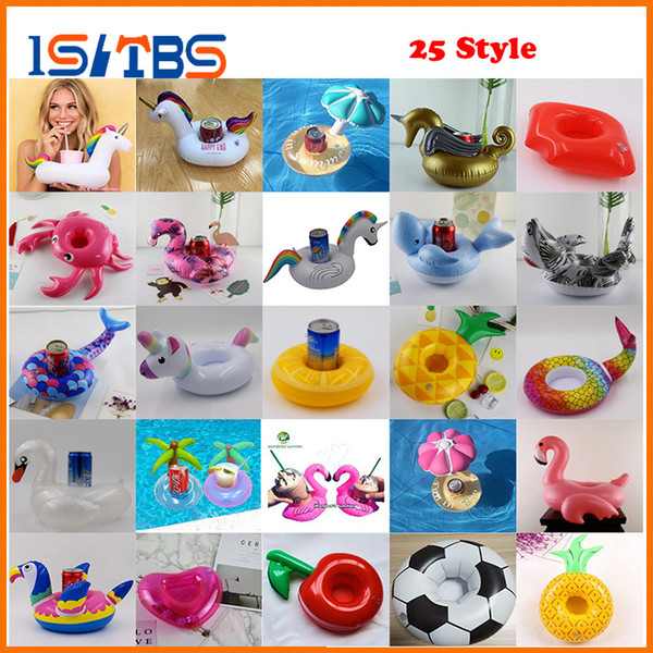 25 Style Flamingo Unicorn Drink Cup Holder Swan Inflatable Pool Float Beach Party Water Fun Toys Beverage Boat boia