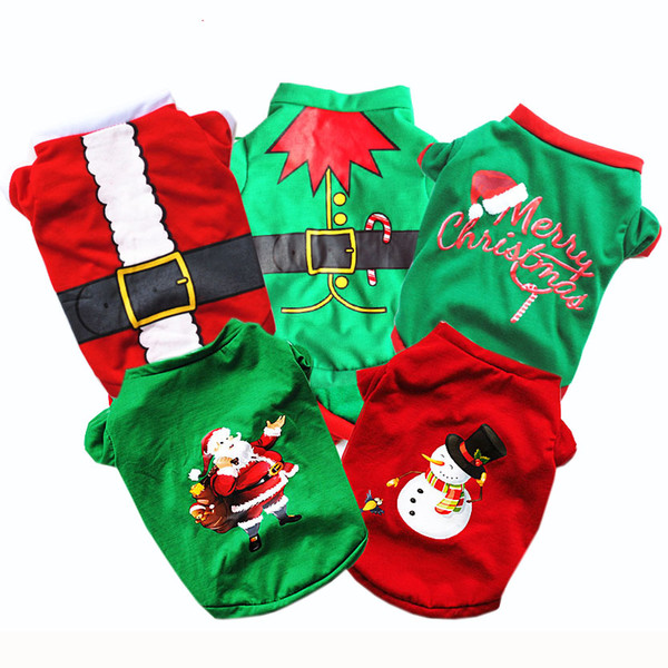 Cute Pet Dog Christmas Gifts Clothes 5 Colors Dog Apparel Cotton Clothing T shirt Jumpsuit Puppy Outfit Pet Supplie DHL Free